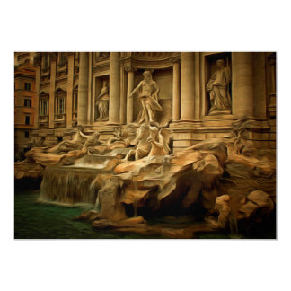 Trevi fountain painting Rome 5x7 Paper Invitation Card