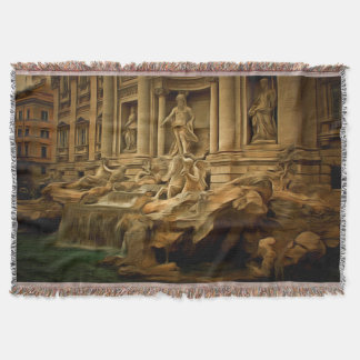 Trevi fountain painting Rome Throw Blanket