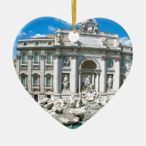 Trevi-Fountain-Rome-Italy-[kan.k].JPG Double-Sided Heart Ceramic Christmas Ornament