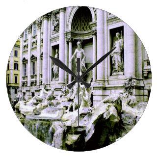 Trevi Fountain Rome Large Clock