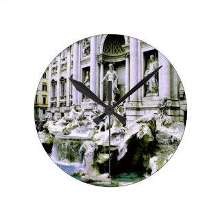 Trevi Fountain Rome Round Clock