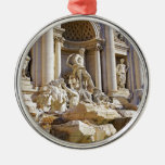 trevi fountain round metal christmas ornament