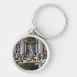 Trevi Fountain Silver-Colored Round Keychain