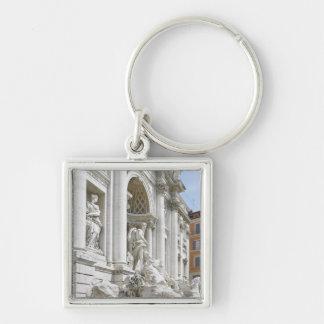Trevi Fountain Silver-Colored Square Keychain