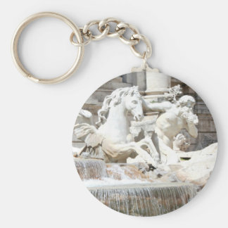 Trevi Fountain Triton and Horse Basic Round Button Keychain