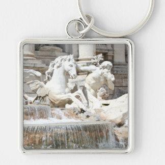 Trevi Fountain Triton and Horse in Rome, Italy Silver-Colored Square Keychain