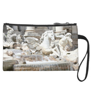Trevi Fountain Triton and Horse in Rome, Italy Suede Wristlet Wallet