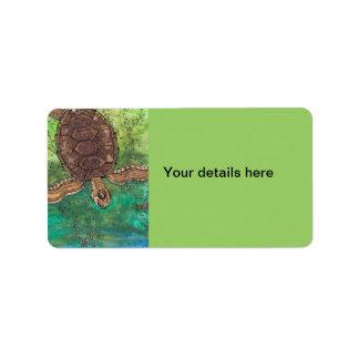 Trevor la tortuga etiqueta de dirección
