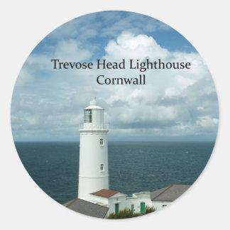 Trevose Head Lighthouse Cornwall England Classic Round Sticker