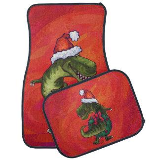 TRex Dino en el gorra de Santa en rojo Alfombrilla De Auto