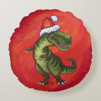 TRex Dino en el gorra de Santa en rojo Cojín Redondo
