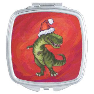 TRex Dino en el gorra de Santa en rojo Espejo Maquillaje