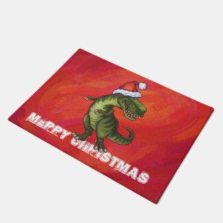 TRex Dino en el gorra de Santa en rojo Felpudo