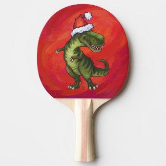 TRex Dino en el gorra de Santa en rojo Pala De Tenis De Mesa