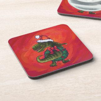 TRex Dino en el gorra de Santa en rojo Posavasos