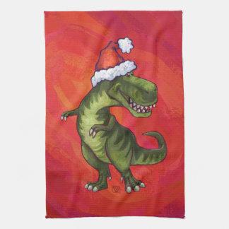 TRex Dino en el gorra de Santa en rojo Toalla De Cocina