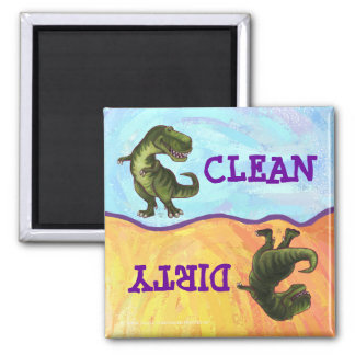 TRex Dino Heads and Tails Dirty Clean Dishwasher 2 Inch Square Magnet