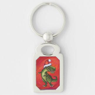 TRex Dino in Santa Hat on Red Keychain