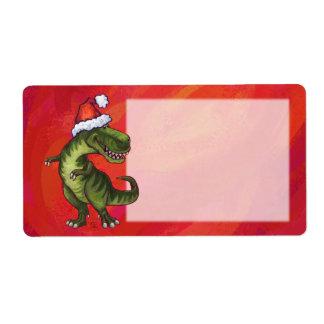 TRex Dino in Santa Hat on Red Label