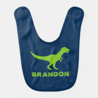 Trex dinosaur baby bib with personalized kids name
