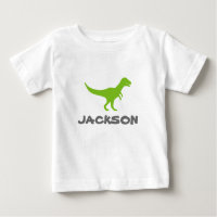 Trex dinosaur infant t shirt with custom kids name