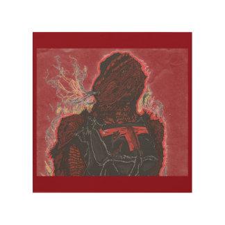 Trex - Fire (8x8 Wood Art) Wood Print