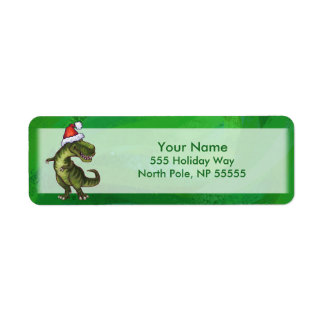 TRex in Santa Hat on Green Label