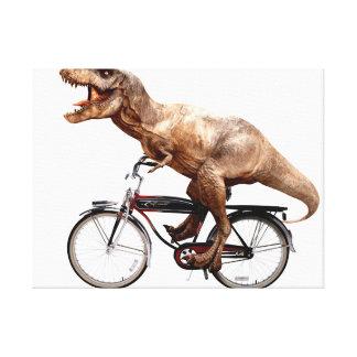 Trex riding bike canvas print
