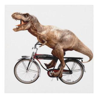 Trex riding bike panel wall art