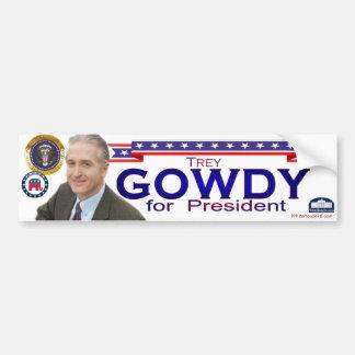 Trey Gowdy para el presidente pegatina para el par Pegatina De Parachoque