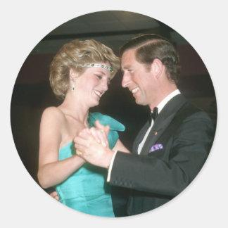 TRH el príncipe y la Princesa de Gales Australia Etiquetas Redondas