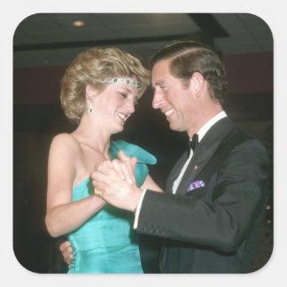 TRH el príncipe y la Princesa de Gales Australia Pegatinas Cuadradases Personalizadas