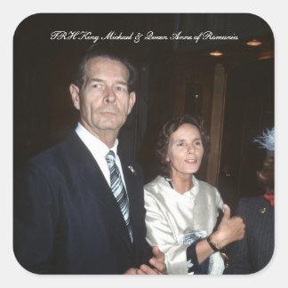 TRH King Michael and Queen Anne of Romania Square Sticker