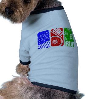 TRI bloques del color del Triathlon Camisetas De Perro