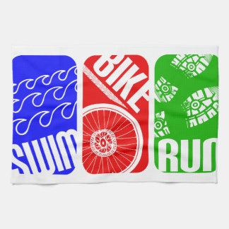 TRI bloques del color del Triathlon Toallas De Mano