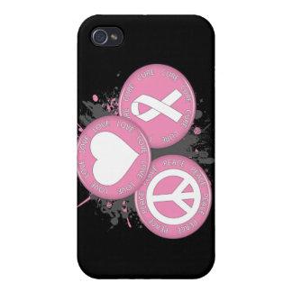 Tri Botones de la curación del amor de la paz - cá iPhone 4 Carcasas
