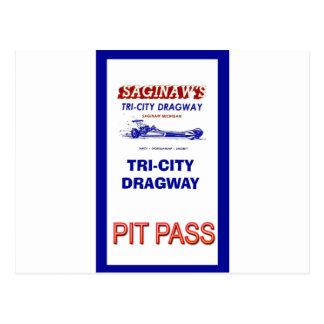 Tri - City Dragway Pit Pass Postcard