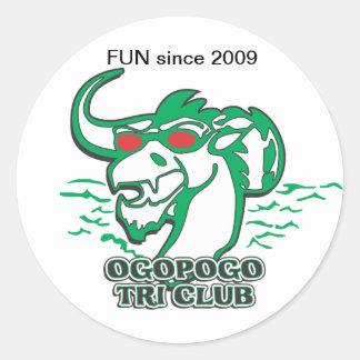 Tri club de Ogopogo Pegatina Redonda