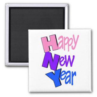 Tri color 2 de la Feliz Año Nuevo Imán Cuadrado