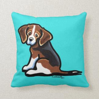 Tri-color Beagle Profile Off-Leash Art™ Throw Pillow
