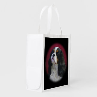 Tri-color Cavalier King Charles Reusable Tote Bag Market Totes