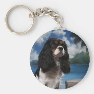 Tri color Cavalier King Charles Spaniel Basic Round Button Keychain
