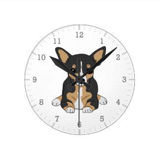 Tri-Color Chihuahua Cute Black Brown White Round Clock