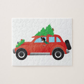 Tri-color Chihuahua Driving Christmas Car Jigsaw Puzzle