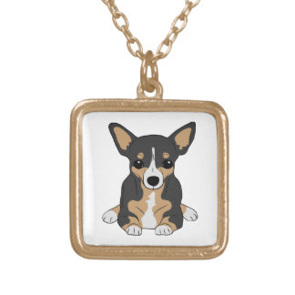 Tri-Color Chihuahua Square Pendant Necklace