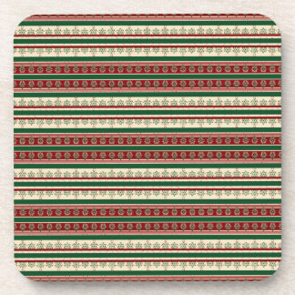 Tri Color Christmas Striped Pattern Coaster