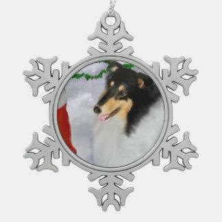 Tri Color Collie Christmas Snowflake Pewter Christmas Ornament