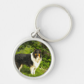 Tri Color Collie Keychain