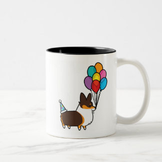 Tri-Color Corgi Birthday Balloons Mug