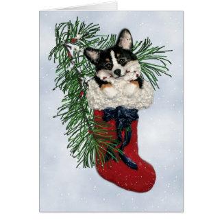 Tri-Color Corgi in Christmas Stocking Card
